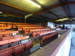 The main stand at Malvern's Langland Stadium