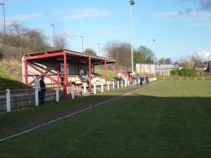 The main stand at the railway end